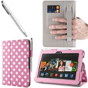 i-Blason Slim Book Leather Case With Bonus Stylus For 7 Amazon Kindle Fire HDX 2013, Dalmatian Pink