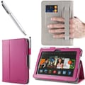 i-Blason Slim Book Leather Case With Bonus Stylus For 7in. Amazon Kindle Fire HDX 2013, Magenta