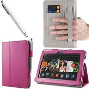 i-Blason Slim Book Leather Case With Bonus Stylus For 7 Amazon Kindle Fire HDX 2013, Magenta