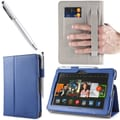 i-Blason Slim Book Leather Case With Bonus Stylus For 7in. Amazon Kindle Fire HDX 2013, Navy