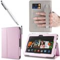 i-Blason Slim Book Leather Case With Bonus Stylus For 7in. Amazon Kindle Fire HDX 2013, Pink