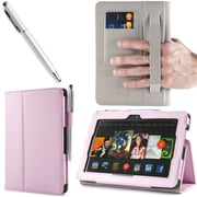 i-Blason Slim Book Leather Case With Bonus Stylus For 7 Amazon Kindle Fire HDX 2013, Pink