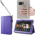 i-Blason Slim Book Leather Case With Bonus Stylus For 7in. Amazon Kindle Fire HDX 2013, Purple