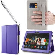 "i-Blason Slim Book Leather Case With Bonus Stylus For 7"" Amazon Kindle Fire HDX 2013, Purple"