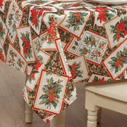 Violet Linen European Christmas PoinSettia Bloom Design Printed Tablecloth; 60'' W x 102'' D