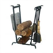 Enclume 4 Piece Fireplace Steel Tool Set with Log Rack