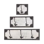 Woodland Imports 3 Piece Wood and Metal Plaques Coat Rack Set