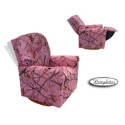Dozy Dotes Contemporary Rocker Kid's Recliner; Fabric - Pink with True Timber