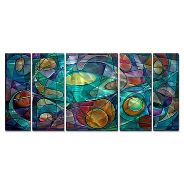 All My Walls 'Prismatic Prelude II' by Ash Carl 5 Piece Graphic Art Plaque Set