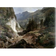 Global Gallery 'Mountain Landscape' by Herman Fueschel Painting Print on Wrapped Canvas