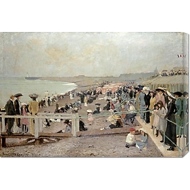 Global Gallery 'The Beach, Dieppe' by Ernest Oppler Painting Print on Wrapped Canvas