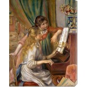 Global Gallery 'Two Young Girls at the Piano' by Pierre Auguste Renoir Painting Print on Canvas