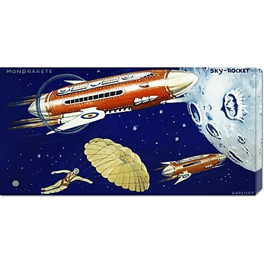 Global Gallery 'Mondrakete Sky-Rocket' by Retrorocket Graphic Art on Wrapped Canvas
