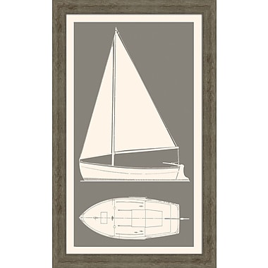 Melissa Van Hise Sail Boat II Framed Graphic Art; Grey