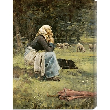 Global Gallery 'A Young Shepherdess' by Pierre Billet Painting Print on Wrapped Canvas