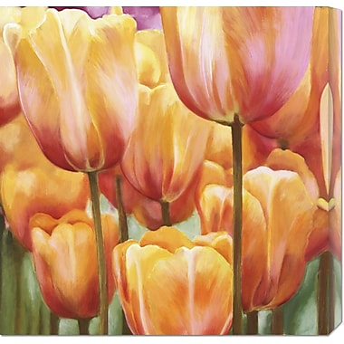 Global Gallery 'Spring Tulips II' by Luca Villa Painting Print on Wrapped Canvas