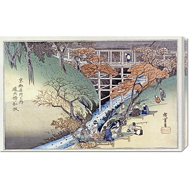 Global Gallery 'Red Maple Leaves at Tsuten Bridge' by Hiroshige Painting Print on Wrapped Canvas