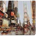 Global Gallery 'Taxi in Times Square' by John B. Mannarini Painting Print on Canvas
