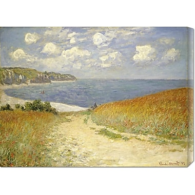 Global Gallery 'Path In The Wheat at Pourville' by Claude Monet Painting Print on Wrapped Canvas