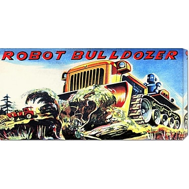 Global Gallery 'Robot Bulldozer' by Retrobot Vintage Advertisement on Wrapped Canvas
