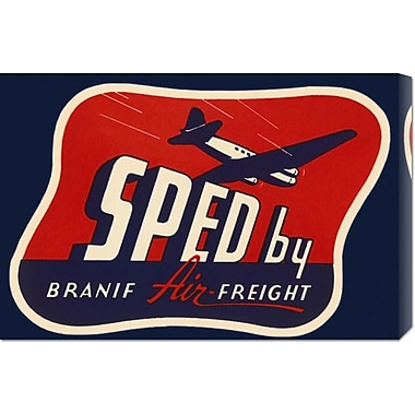Global Gallery 'Sped by Branif Air Freight' by Retro Travel Vintage Advertisement on Wrapped Canvas