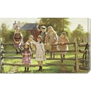 Global Gallery 'Watching The Train' by John George Brown Painting Print on Canvas