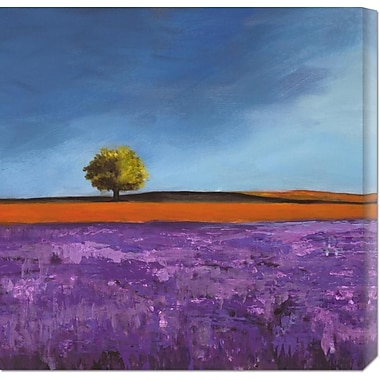 Global Gallery 'Field of Lavender (Left Detail)' by Philip Bloom Painting Print on Wrapped Canvas
