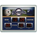 Team Sports America MLB Scoreboard Thermometer Wall Clock; Milwaukee Brewers