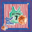 Art 4 Kids Blue Jean Basketball Wall Art; Contemporary Mount with Beveled Edge