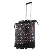 Olympia Patterned Rolling Shopping Tote; Black