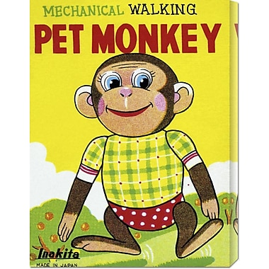 Global Gallery 'Mechanical Walking Pet Monkey' by Retrobot Vintage Advertisement on Wrapped Canvas