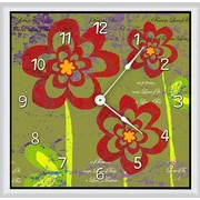 Green Leaf Art Flowers 16'' Art Wall Clock