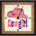 Green Leaf Art Cowgirl Hat 11'' Art Wall Clock