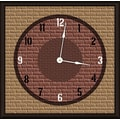 Green Leaf Art Brick Mural 11'' Art Wall Clock