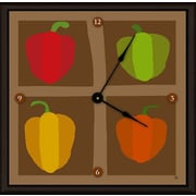 Green Leaf Art Peppers 11'' Art Wall Clock