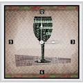 Green Leaf Art Wine Glass 16'' Art Wall Clock
