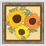 Green Leaf Art Sunflowers Arrangement I 20'' Art Wall Clock