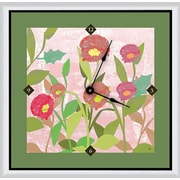 Green Leaf Art Spring Flowers 16'' Art Wall Clock
