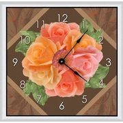 Green Leaf Art Floral Arrangements 16'' Art Wall Clock