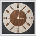 Green Leaf Art Circle Silverware 16'' Art Wall Clock