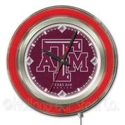 Holland Bar Stool NCAA 15'' Double Neon Ring Logo Wall Clock; Texas A&M