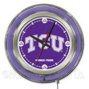 Holland Bar Stool NCAA 15'' Double Neon Ring Logo Wall Clock; TCU