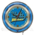 Holland Bar Stool NCAA 15'' Double Neon Ring Logo Wall Clock; UCLA