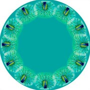 Betsy Drake Interiors Peacock Round Tablecloth; 68 inch W Round