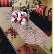 Violet Linen Classic Damask Design Table Runner; Brown / Gold