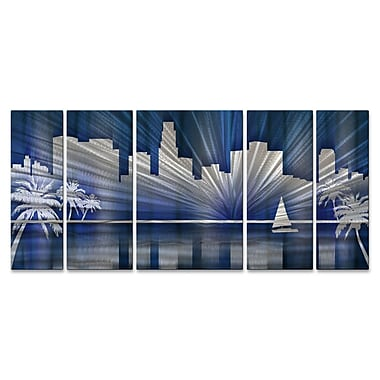 All My Walls Los Angeles Skyline by Ash Carl 5 Piece Graphic Art Plaque Set; Cool
