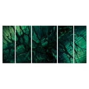 All My Walls 'Emerald Envy' by Michael Lang 5 Piece Original Painting on Metal Plaque Set