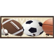 Illumalite Designs Mixed Sports Balls Wall Graphic Art on Plaque with Pegs; Tan