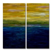 All My Walls 'Gold and Pink Sunset' by Michelle Calkins Original Painting on Metal Plaque Set
