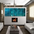 All My Walls Abstract  by Ash Carl Metal Wall Art in Turquoise - 23.5'' x 60''